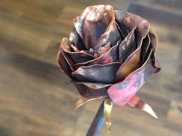 Handmade copper rose made by blacksmith